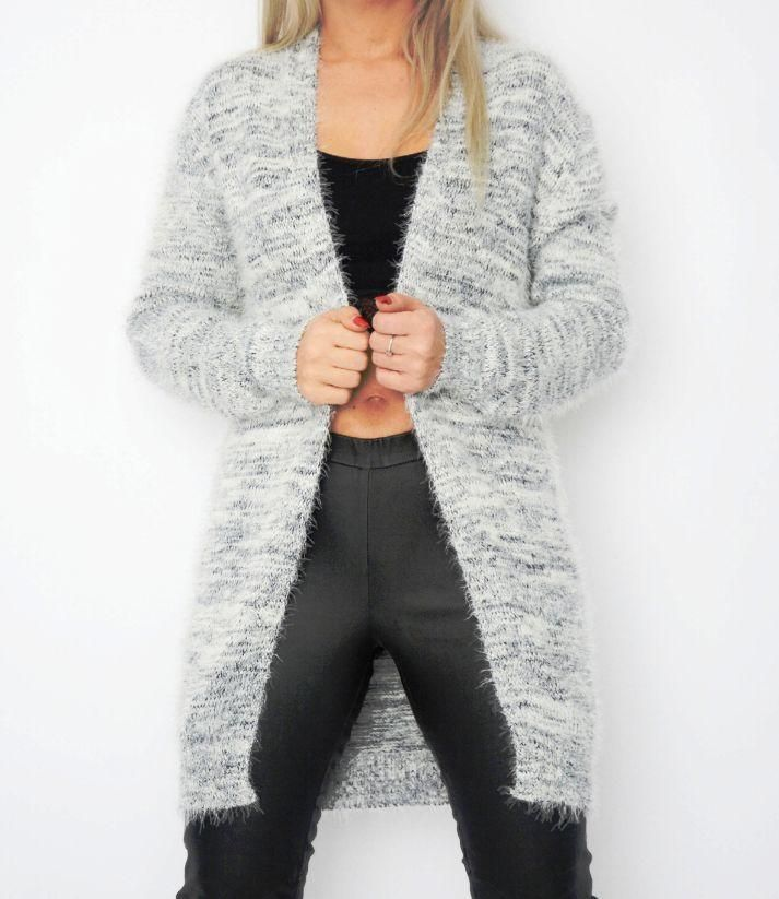 Fluffy Cardigan - grey and white