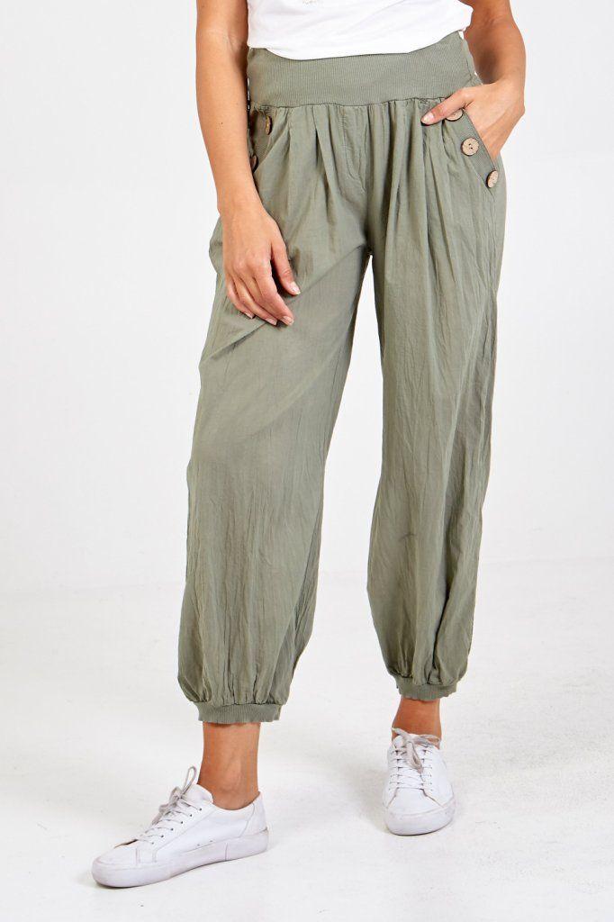 Button Detail Harem Pants