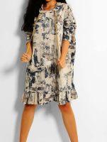 Italian Abstract Print Oversized Cotton Hooded Sweatshirt Dress