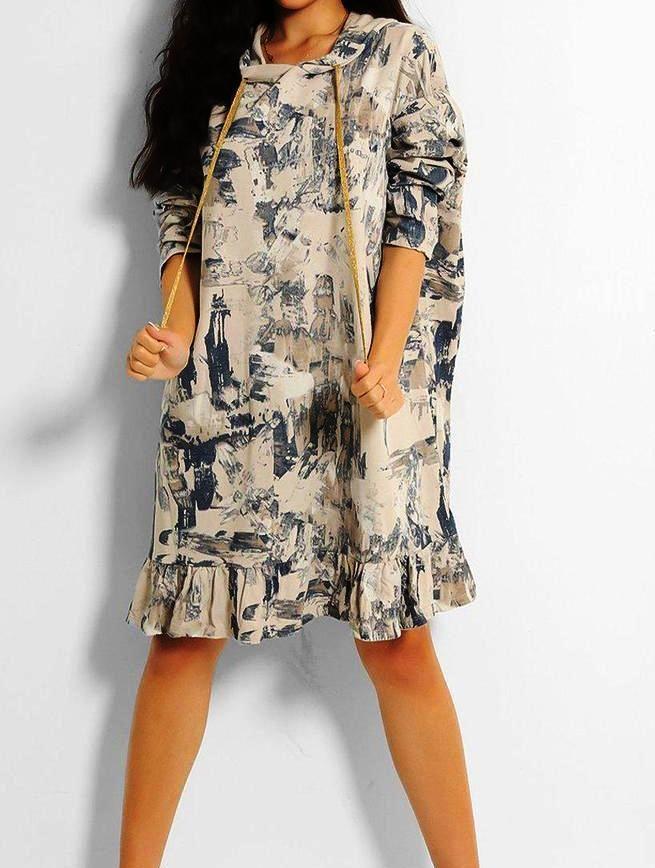 Italian Abstract Print Oversized Hooded Sweatshirt Dress - One Size