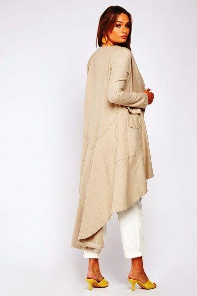 Beige Cotton Dip Hem Long Jacket
