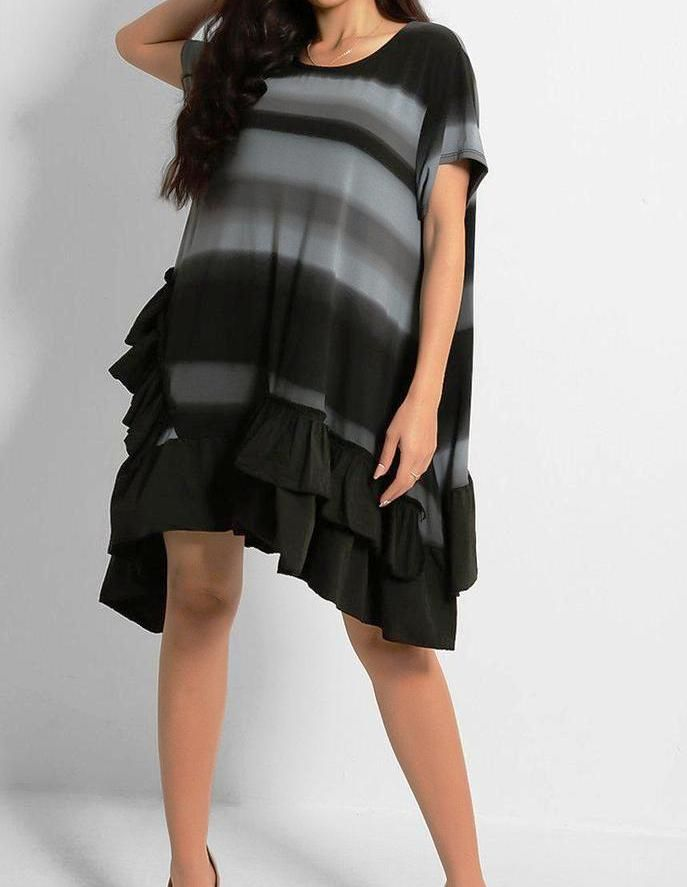 Grey and Black Striped Ruffle Dress