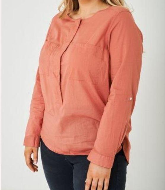 Ladies Plus Size Long Sleeved Top Pink