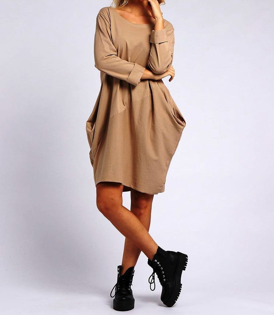Italian Plain Cotton Lagenlook Long Sleeved Dress with pockets
