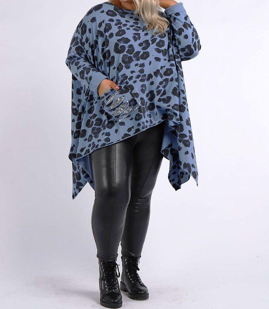 Italian Leopard Print Sequin Pocket Plus SizeCotton Tunic Top