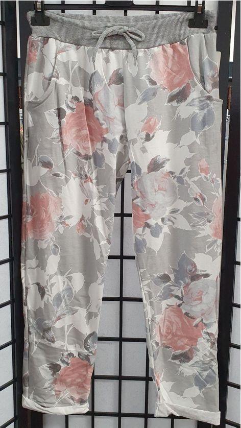 Italian Rose Print Cotton Joggers