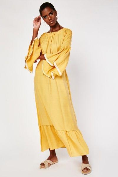 Mustard Crochet Flounce Sleeve Boho Maxi Dress