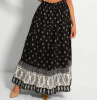 Black and White Boho Ethnic Print Skirt
