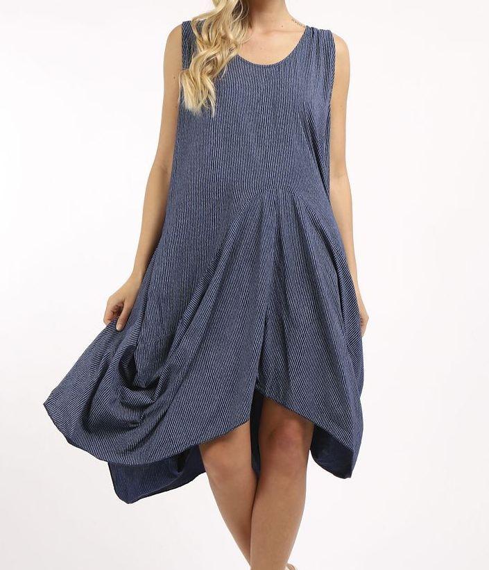 Italian Cotton Fine Stripe Cocoon Dress