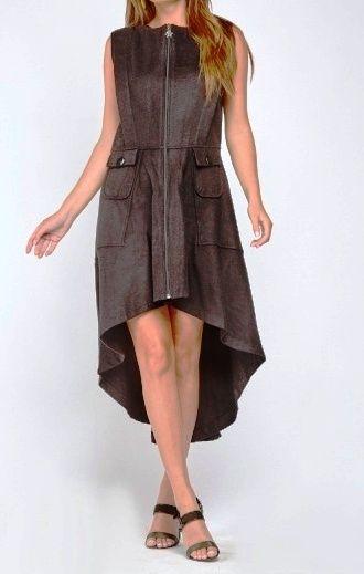 Ladies Dip Hem Long Black Waistcoat or Waistcoat Dress