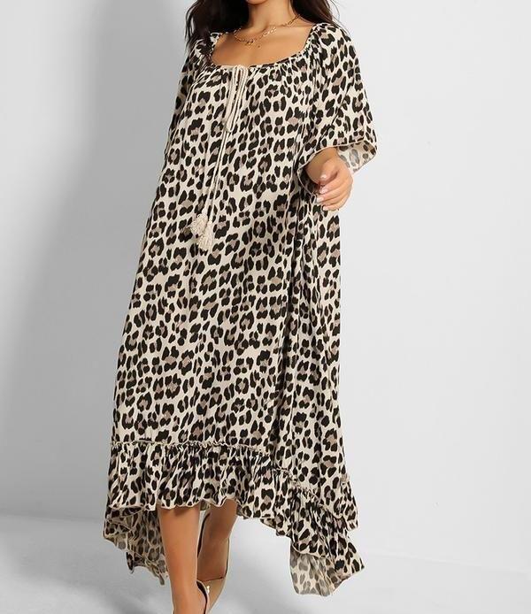 Leopard Print Maxi Dress with Asymmetric Hem
