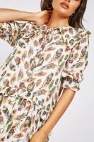 Cream Feather Print Boho Maxi Dress