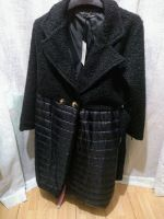 Made In Italy Black Boucle Padded Belted Coat