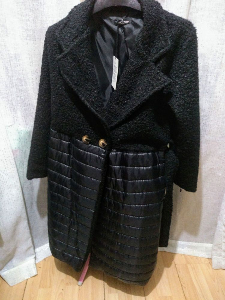 Unique Black Boucle Padded Belted Coat