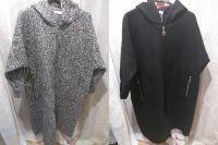 Made In Italy Plain Hooded Boucle Long Coatigan Coat
