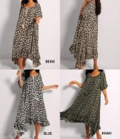 Made in Italy Leopard Print Maxi Dress with Asymmetric Hem