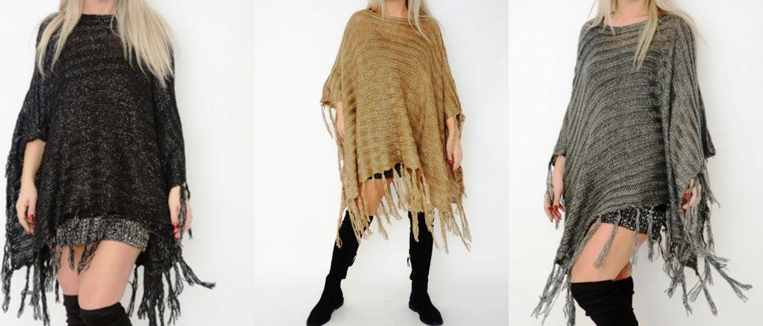 Asymmetric Soft Shimmer Knit Poncho