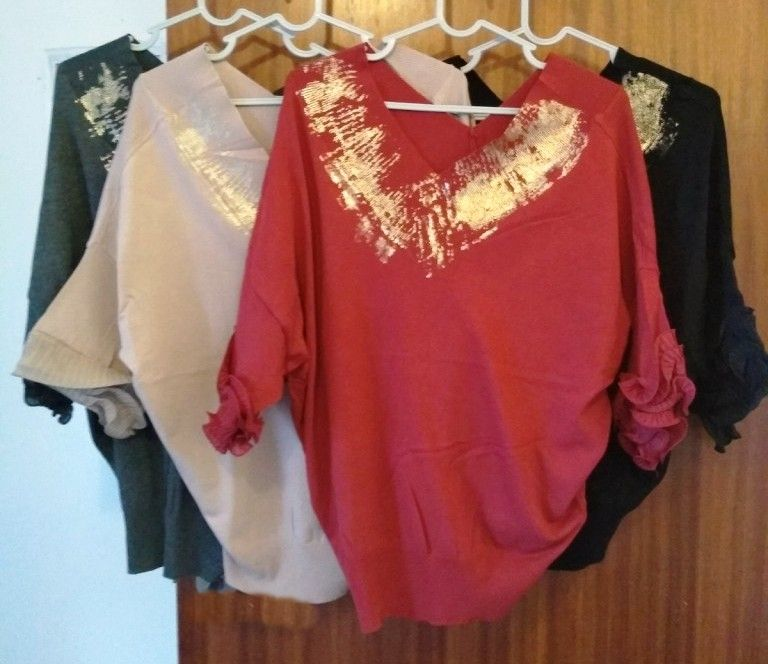 Elegant Frill Sleeved V Neck Jersey Top - One Size - fits 8 to 14