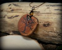 Antler necklaces wooden pendants shop hawthorn wood tree of life necklace with pouch aloadofball Gallery