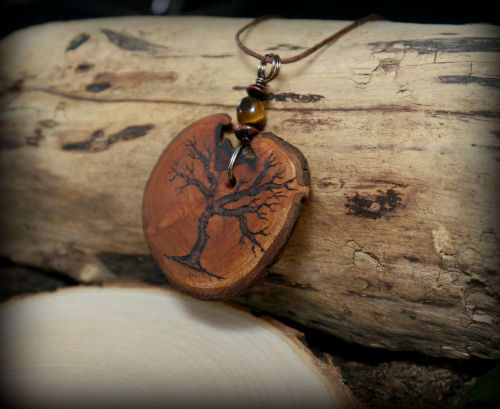 Hawthorn Wood Tree of Life Necklace with Pouch
