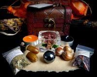 Samhain Blessing Chest with Scrying Orb, Rowan Berries, Herbs and Offering Bowl