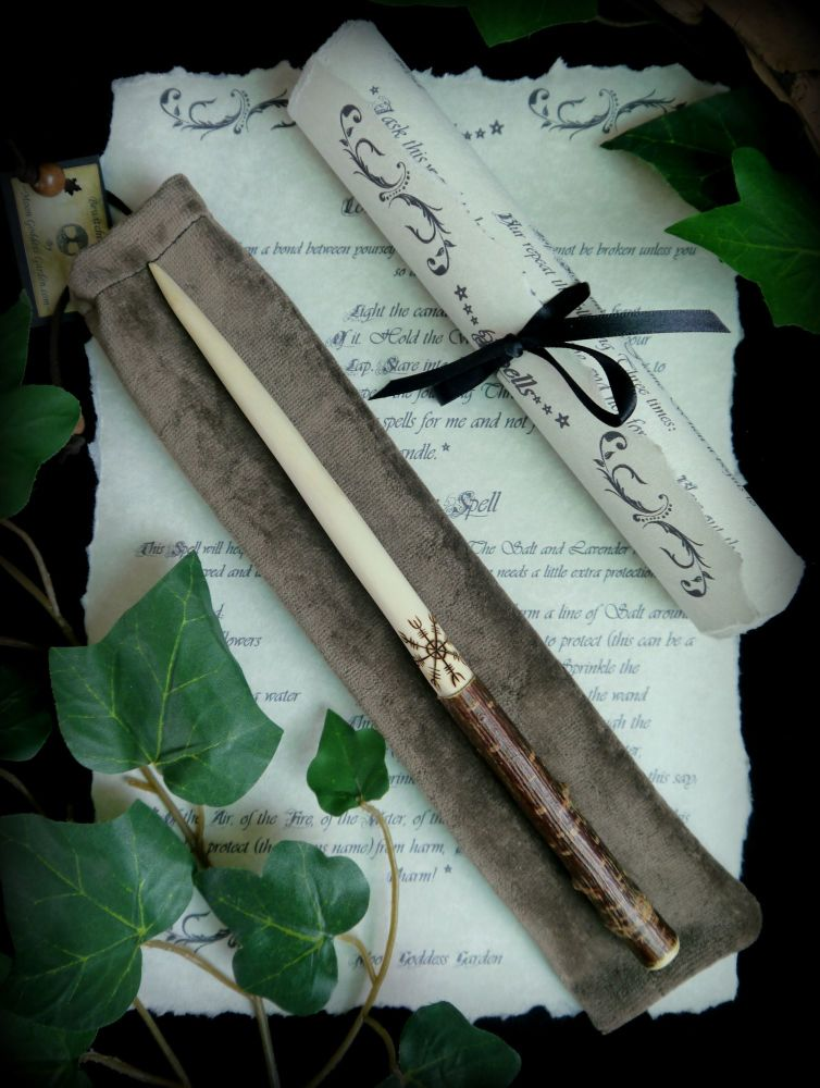 Hazel Wood Wand with Aegishjalmur design 'Helm of Awe'