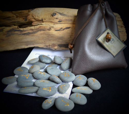25 River Stone Runes with Velvet Pouch