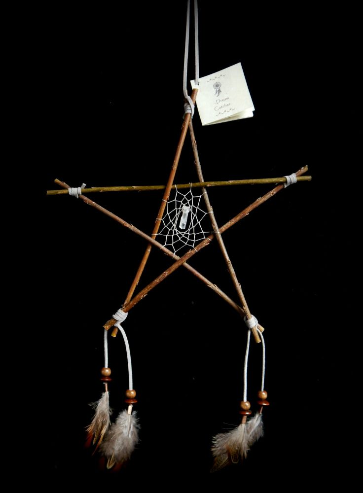 Witches Willow Wood Pentacle DreamCatcher Protection Hanging Charm