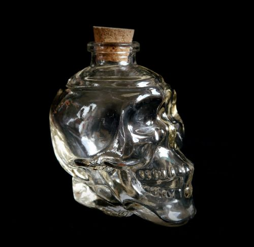 Witches Skull Glass Potion Bottle