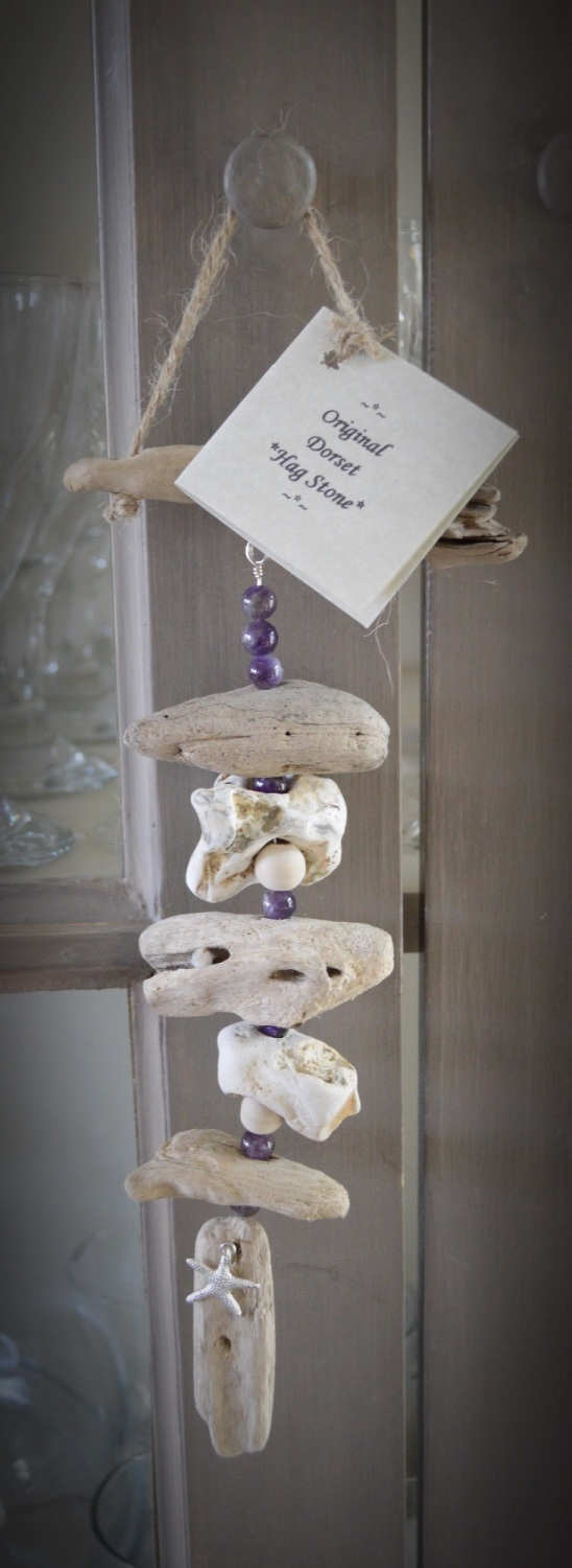 Hag Stone Wind Chime with Amethyst Crystals & Driftwood Protection Charm