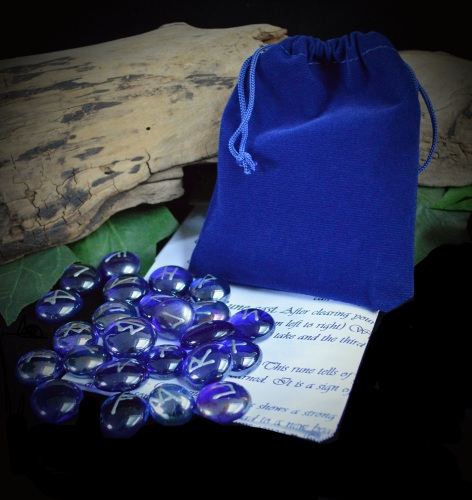 25 Blue Glass Runes with Tree of Life Pouch