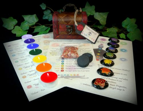 Chakra Stones Chest Set Candles and Information Leaflets Hand Painted Talis