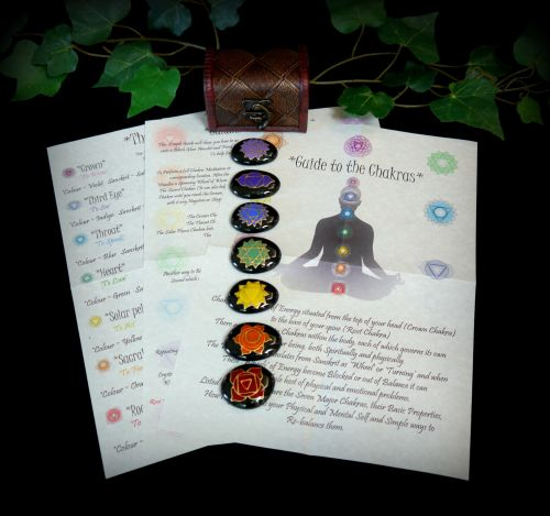 Chakra Stones with Chest and Information Leaflets Hand Painted Talismans Re