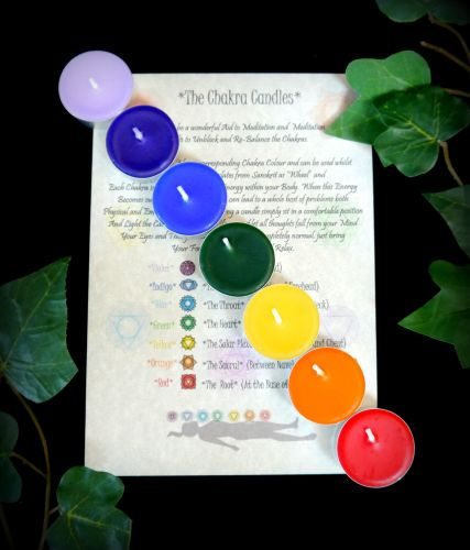 Chakra Candle Set with inormation Lealet
