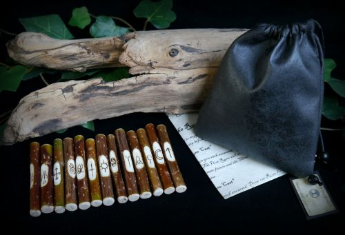 13 Willow Wood Witches Runes with faux Leather Bag & Casting Instructions