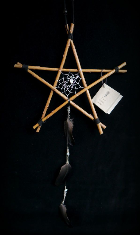 Witches Willow Wood Pentacle Hanging Charm with Dreamcatcher and Crow Feath