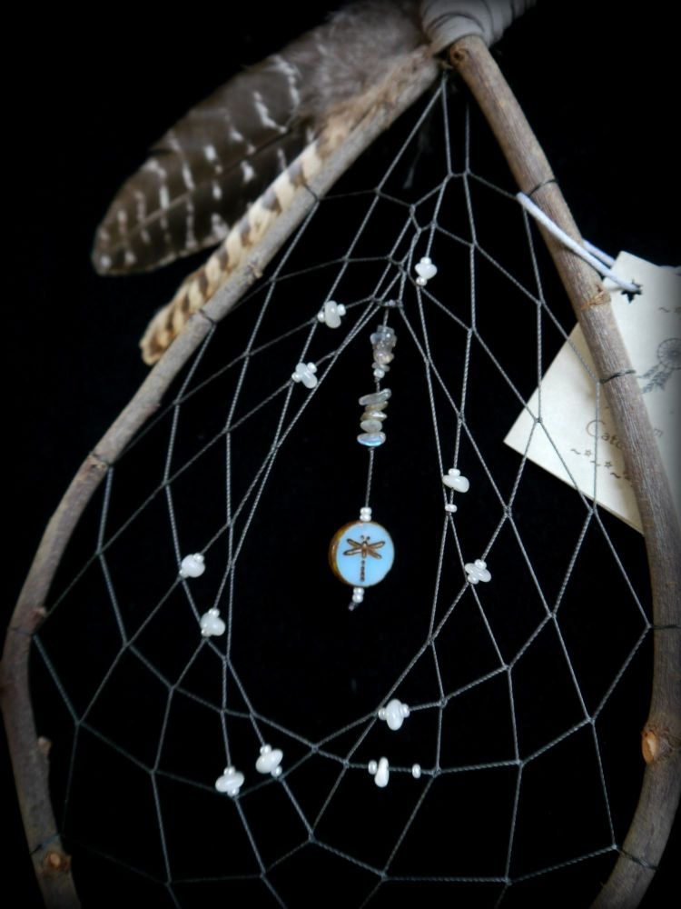 Witches Rowan Wood Dreamcatcher with Dragonfly and Pheasant Feathers witchc