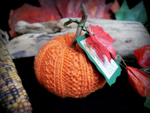 Hand Knitted Orange Pumpkin with Samhain Blessing Herbs and Pumpkin Spice S
