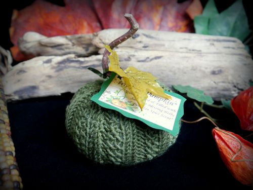 Hand Knitted Green Pumpkin with Samhain Blessing Herbs and Pumpkin Spice Sc