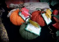 3 x Hand Knitted Pumpkins with Samhain Blessing Herbs and Pumpkin Spice Scent Fall Decor Witch Halloween