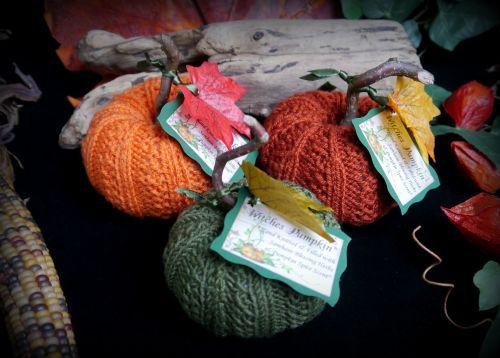 3 x Hand Knitted Pumpkins with Samhain Blessing Herbs and Pumpkin Spice Sce