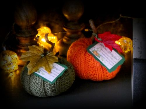 2 x Hand Knitted Pumpkins with Samhain Blessing Herbs and Pumpkin Spice Sce