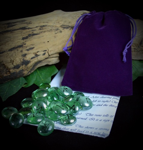 25 Green Glass Runes & Purple Velvet Bag