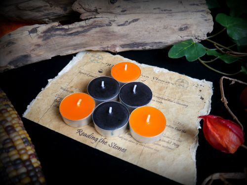 *Samhain Spell Candles 3 x Black 3 x Orange Tea Candles for Spells