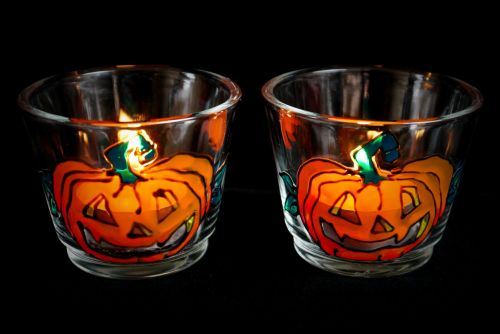 Pumpkin Glass Candle Holders Hand Painted Samhain Gift Fall decoration