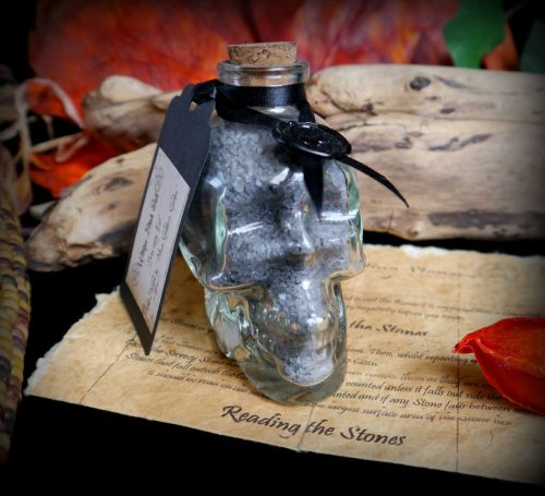 Witches Skull Glass Potion Bottle with Black Salt
