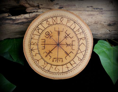Vegvisir the Viking Compass Witches Altar piece on Alder Wood Wicca Pagan w