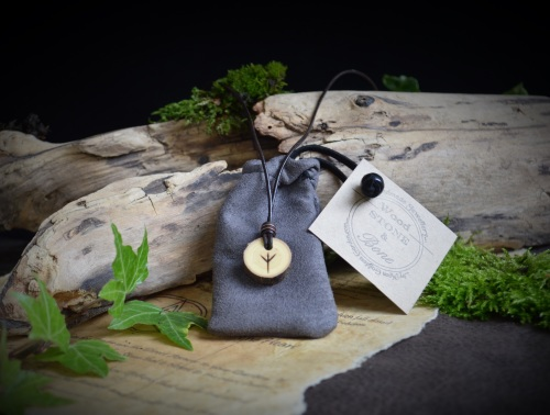 Unisex Elm Wood Viking pendant