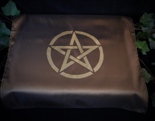 Brown/ Olive  Altar Cloth with Pentacle design