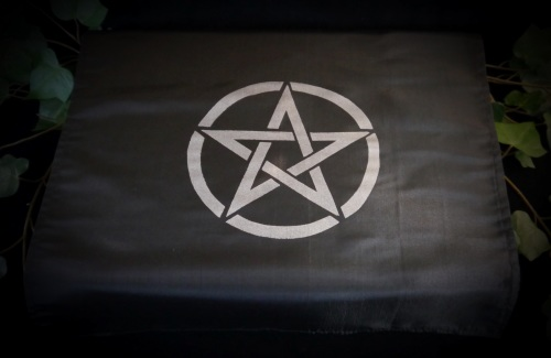 Black  Altar Cloth with Pentacle design